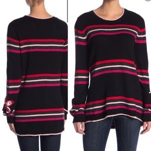 NWT Democracy striped sweater with flower detail